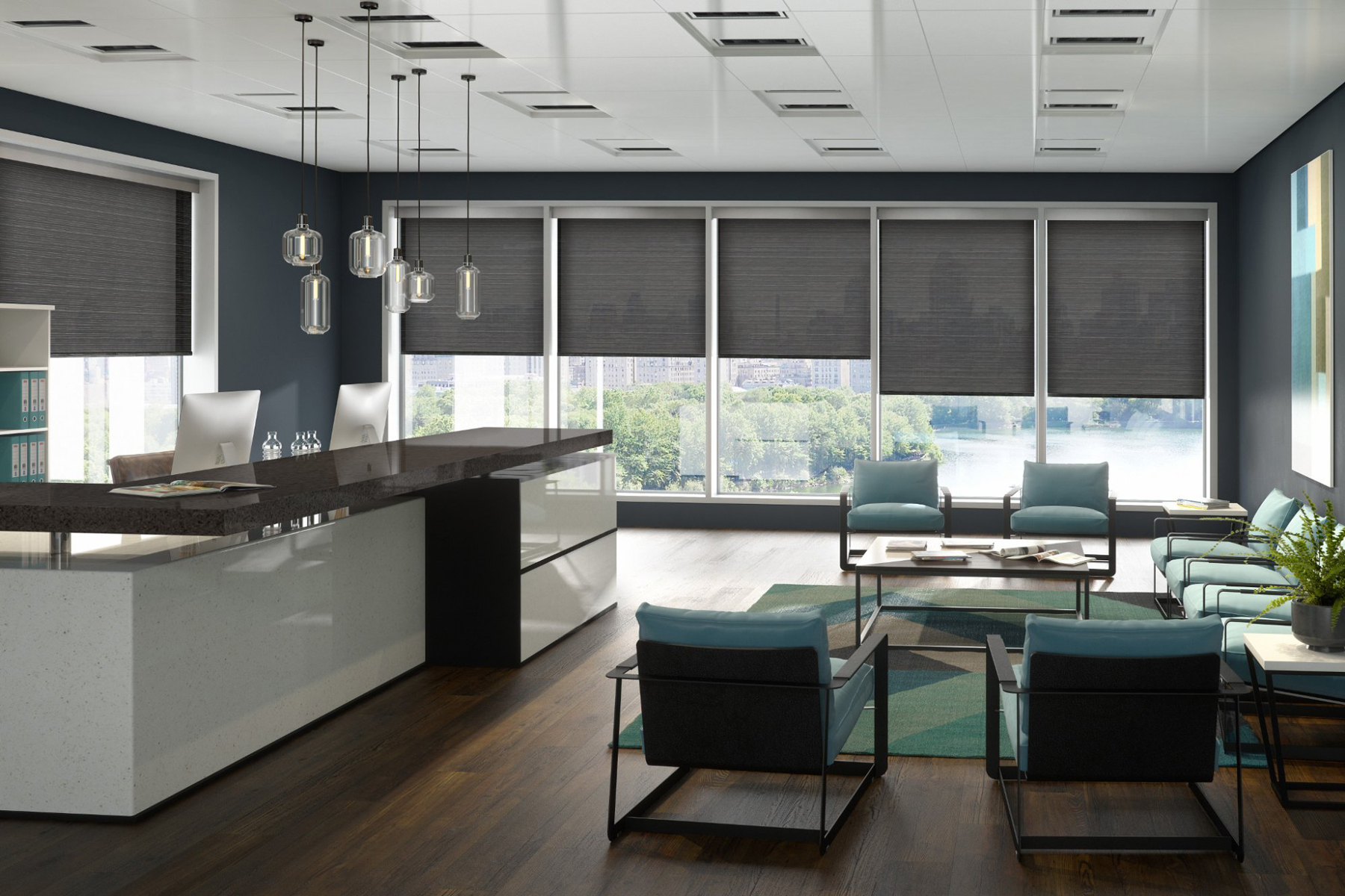 roller operated blinds commercial controlled integral battery manually or via motorised tablet window luxury smartphone